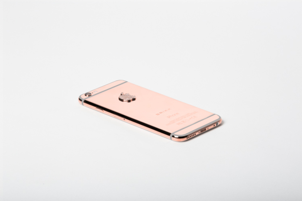 los angeles b9598 ae8ca LUX IPHONE 6 SECURE IN BLACK FINISHED IN 24K PINK GOLD WITH DIAMOND LOGO  128GB